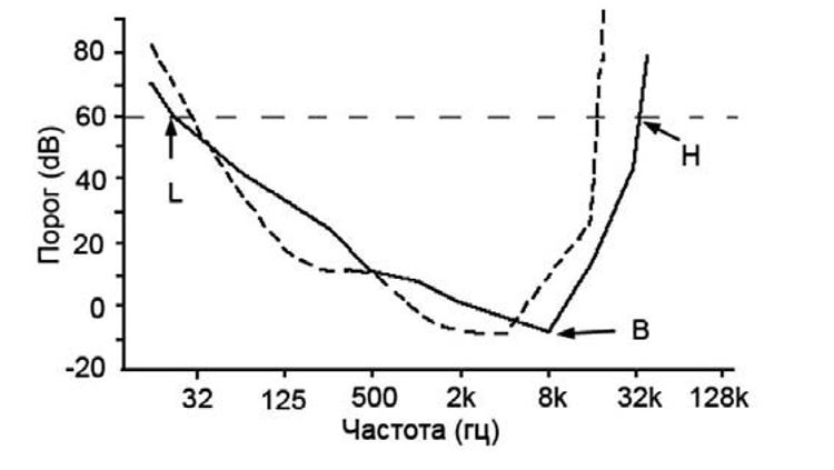 Рис. 7. Пороги и частоты слышанья. L – предел восприятия низкочастотных сигналов, B – наилучшая слышимая частота, H – предел восприятия высокочастотных сигналов  (Heffner, Mastarton, 1990, цит. по: Phillips, 2002).